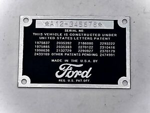 Stamped Ford Car Or Pickup Truck Data Plate 1932 1933 1934 1935 1936