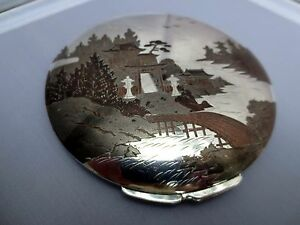 Vtg Mixed Metals Copper Inlaid Sterling Silver Powder Case Compact 138 G