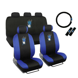 New Blue Hawaiian Floral Front Back Car Seat Cover Steering Wheel Cover Set
