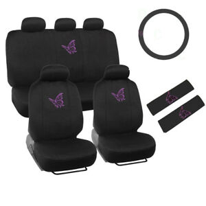 New Purple Flying Butterfly Front Back Car Seat Cover Steering Wheel Cover Set