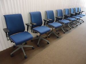Steelcase Ergonomic Think Chair Fully Adjustable 8 Available Royal Blue Fabric