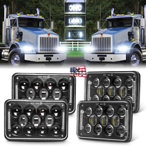 4x 4x6 Led Cree Headlights For Freightliner Kenworth T800 T400 W900 T600a Truck
