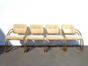 Set Of Chairs 4 Armchairs Dining Milo Baughman Dia Gold Brass Mid Century Modern