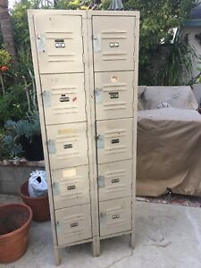 Antique Vintage Original Locker Room Lockers 10 Cubby Salvage Repurpose 24x66