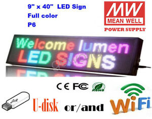 9 x40 Led Sign 7 Color Programmable Scrolling Indoor Message Display Board P6