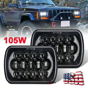 Pair Black 85w 5x7 7x6 Sealed Beam Led Headlights For Jeep Cherokee Xj Trucks