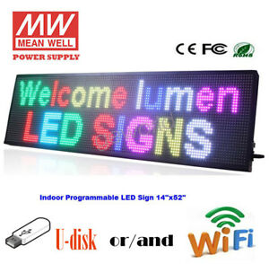 14 x 52 Led Sign Multicolor Programmable Scrolling Indoor Message Display Board