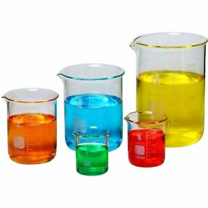 Erlenmeyer Flask Laboratory Glassware Science Lab Chemistry Beaker Set Of 5 New