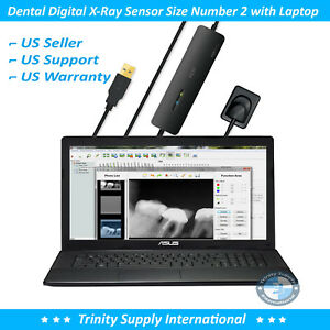 Dental Digital Intraoral X ray Sensor Size 2 With Laptop 15 And Software