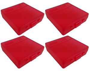 NEW MTM 100 Round Flip-Top 3809MM Ammo Box - Clear Red (4 Pack)