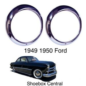 New 1949 1950 Ford Passenger Car Stainless Headlight Trim Ring Bezels Shoebox