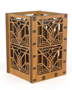 Frank Lloyd Wright Laser Cut Wood Lake Geneva Tulip Pencil Pen Holder