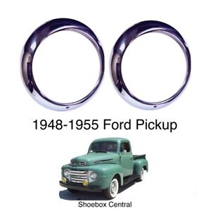New 1948 55 Ford Pickup Headlight Trim Ring Bezels