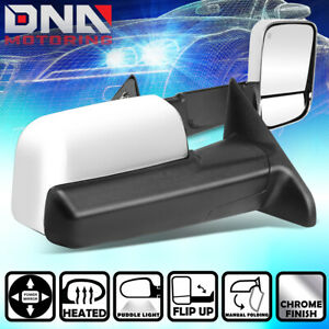 For 2009 2016 Dodge Ram 1500 5500 Truck Pair Chrome Powered Towing Mirror heated