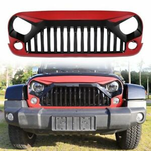 Red Front Hood Bumper Grill Grid Grille For 2007 2018 Jeep Wrangler Jk Unlimited