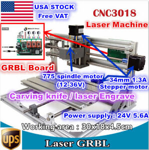 usa 3 Axis 3018 Diy Mini Cnc Laser Machine Grbl Control Pcb Milling Wood Router