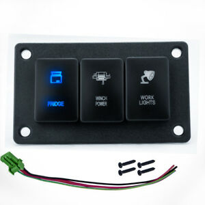 3 Gang Rocker Switch Panel Blue Led Light Car Marine Boat Rv Waterproof 12v 24v