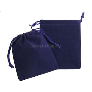100 Drawstring Purple Velvet Square Jewellery Pouches Party Gift Bags 4 x5