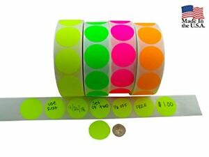 Coding Labels 2 Round Multicolor Bright Fluorescent 4000 Circle Dot Stickers