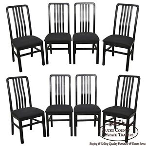Quality Set Of 8 Black Slat Back Dining Chairs By Dinaire