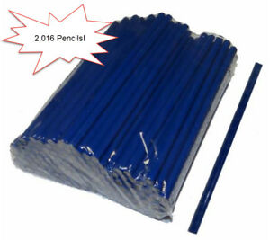Bulk Wholesale Lot Of 2 016 Blue Hex shaped Wooden 7 Long Pencils No Erasers