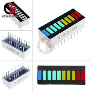 2pcs 10 Segment Color Led Bargraph Graph Indicator Dip Blue Green Yellow Red Czb