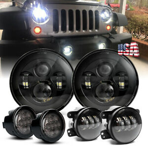 Black 7 Led Headlights Signal Turn Light 4 Fog Lamp Kit For Jeep Wrangler Jk