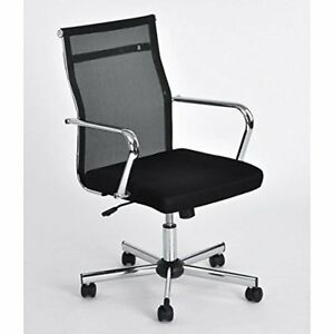 Black Chrome Modern Adjustable Office Chair For Computer Laptop Desk Mesh Task