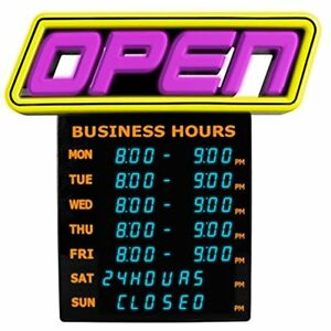 Greenlight Innovations Hours Open Sign Business Store gli 1057