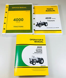 Service Parts Operators Manual Set John Deere 4020 4000 Tractor Catalog Repair