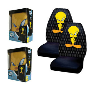 New Looney Tunes Tweety Bird Attitude Front Pair High Back Car Seat Covers