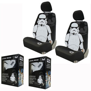 New White Black Star Wars Stormtrooper Front Pair Low Back Car Seat Covers