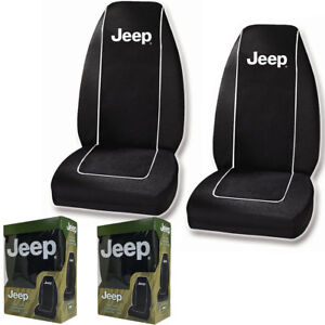 New Black White Jeep Logo Front Pair High Back Bucket Car Seat Covers