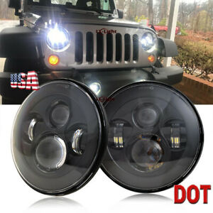 Pair Chrome 7 Round Led Projector Headlights For Jeep Chevy Pickup Truck 3100