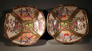Pair Of Chinese Rose Medallion Square Bowls Figural Floral Decor Ca Early 20thc