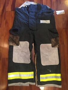 Firefighter Turnout Bunker Pants Globe 44x28 Black Bib Halloween Costume