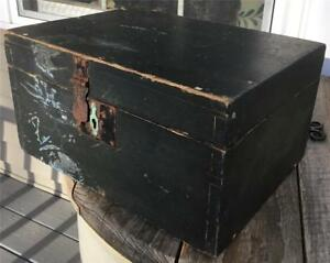Early Antique Painted Taper Dovetail Wood Hinge Lid Document Box Dark Blue Green