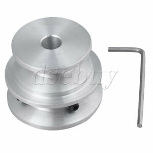 Silver Aluminum 2 step Groove Fixed Bore Pulley 40x30x8mm For Round Belt