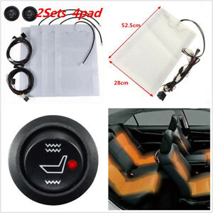 4 Seats Universal Heated Seat Heater Kit 12v Carbon Fiber High Low Switch New