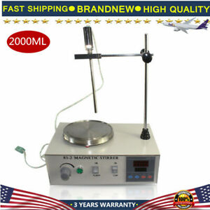 85 2 Magnetic Stirrer 2000ml With Hot Plate Digital Heating Lab Mixer 2400rpm Us