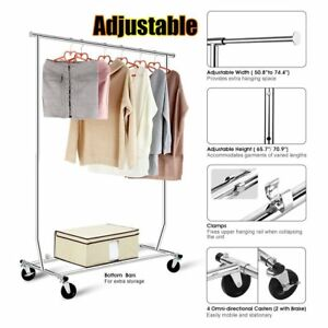 New Lot Heavy Duty Commercial Clothing Garment Rolling Collapsible Rack Chrome