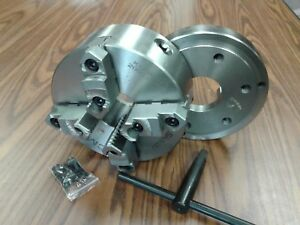 8 4 jaw Self centering Lathe Chuck Top bottom Jaws W D1 6 Adapter Plate new