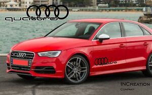 Audi A3 Quattro Factory Style Door Vinyl Stickers Decals Racing Emblem Logos X2