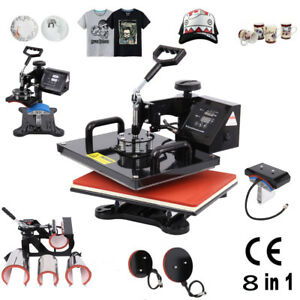 8 In 1 Heat Press Machine Digital Transfer Sublimation T shirt Mug Hat Plate Cap