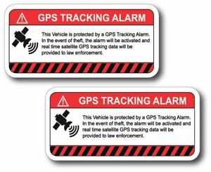 Gps Alarm System Tracker Warning Sticker Decal Safety Car Vinyl 2 Decals 2 X4