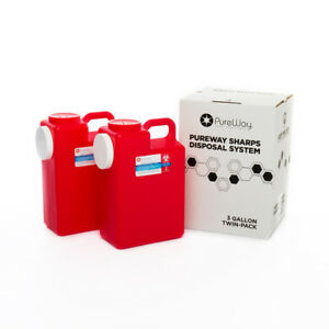Pureway Sharps 3 Gallon Two pack Disposal System