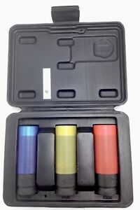 Husky 3 Piece Color Coded Wheel Protector Impact Socket Set