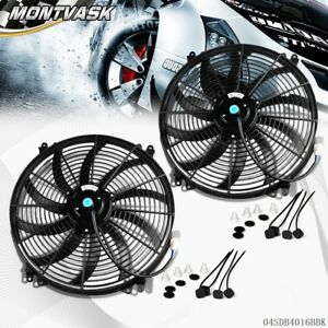 2 16 Inch 12v Universal Slim Fan Push Pull Electric Radiator Cooling Mount Kit