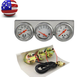 Universal Chrome Oil Pressure Water Volt Triple 3 Gauge Set Car Gauges Kit Best
