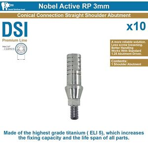 X10 Dsi Dental Implant Straight Shoulder Abutment Conical Nobel Active Rp 3mm